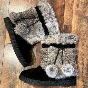 BEARPAW Tama Rabbit Fur and Suede Boot